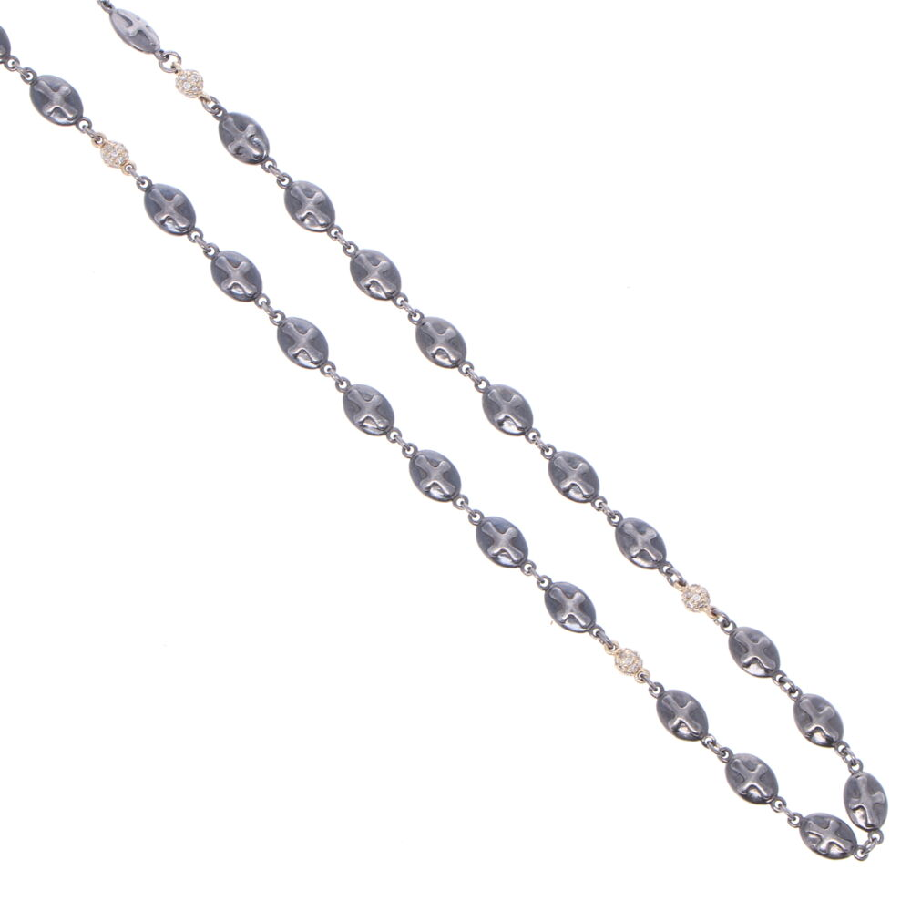 Image 2 for Polished Cross Shield Chain With Yellow Gold Diamond Stations 30""