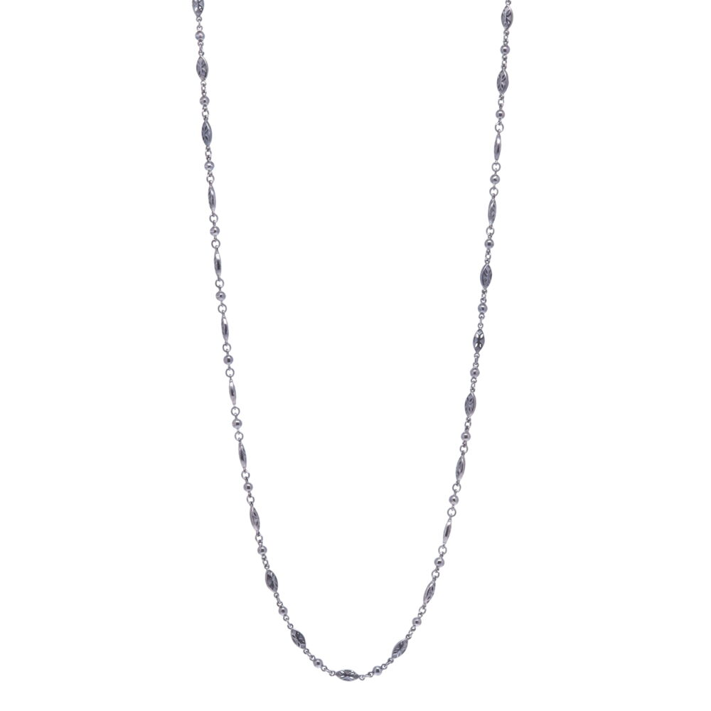 Tiny Polished Marquise Rhodium Sterling Chain Link Necklace