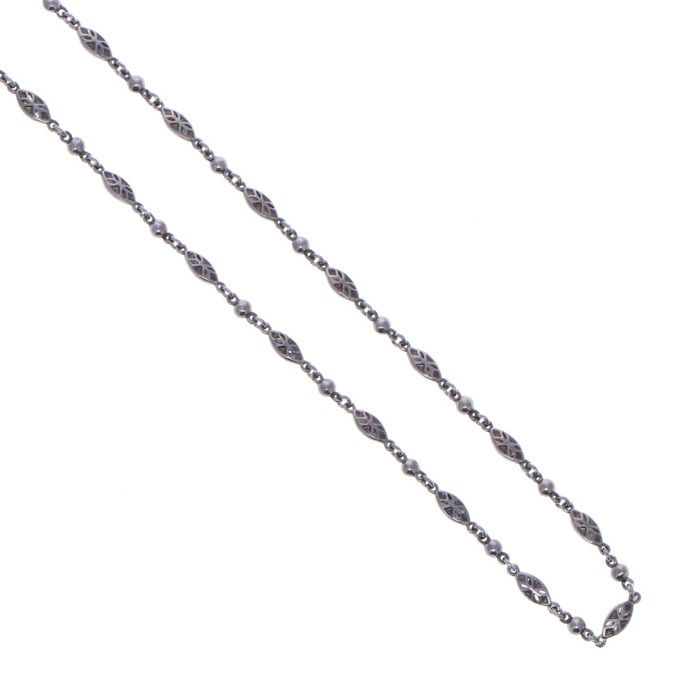 Image 2 for Tiny Polished Marquise Rhodium Sterling Chain Link Necklace