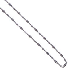 Closeup photo of Tiny Polished Marquise Rhodium Sterling Chain Link Necklace