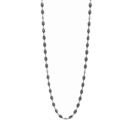 "Closeup photo of Matte Cross Shield Chain with Blackened Diamond Stations 34"""