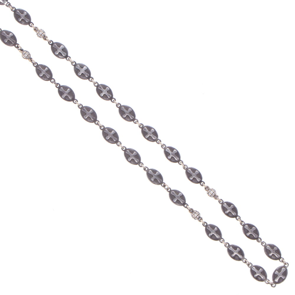 Image 2 for Matte Cross Shield Chain with Blackened Diamond Stations 34""