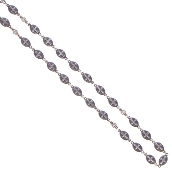 Closeup photo of Matte Cross Shield Chain with Blackened Diamond Stations 34""