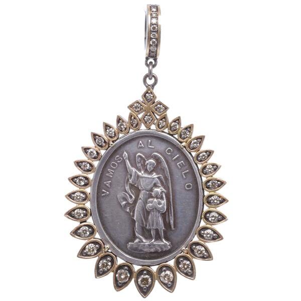Closeup photo of Spanish Silver Guardian Angel Pendant
