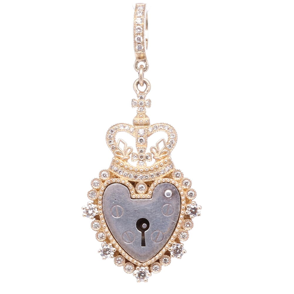 Antique Padlock Heart with Crown Pendant