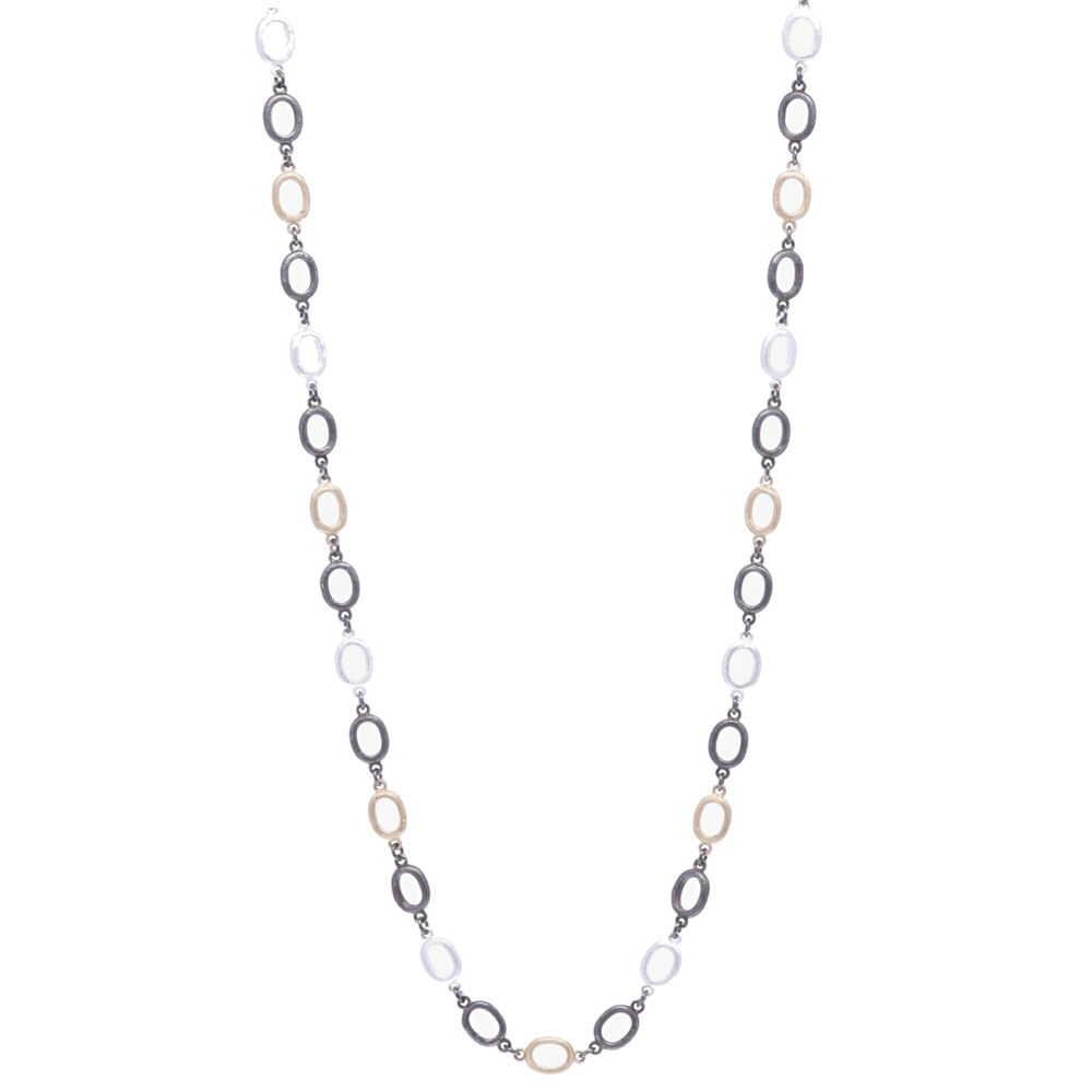 Satin Finish Tri Color Oval Link Chain 38""