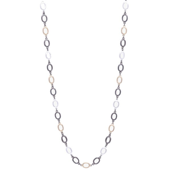 Closeup photo of Satin Finish Tri Color Oval Link Chain