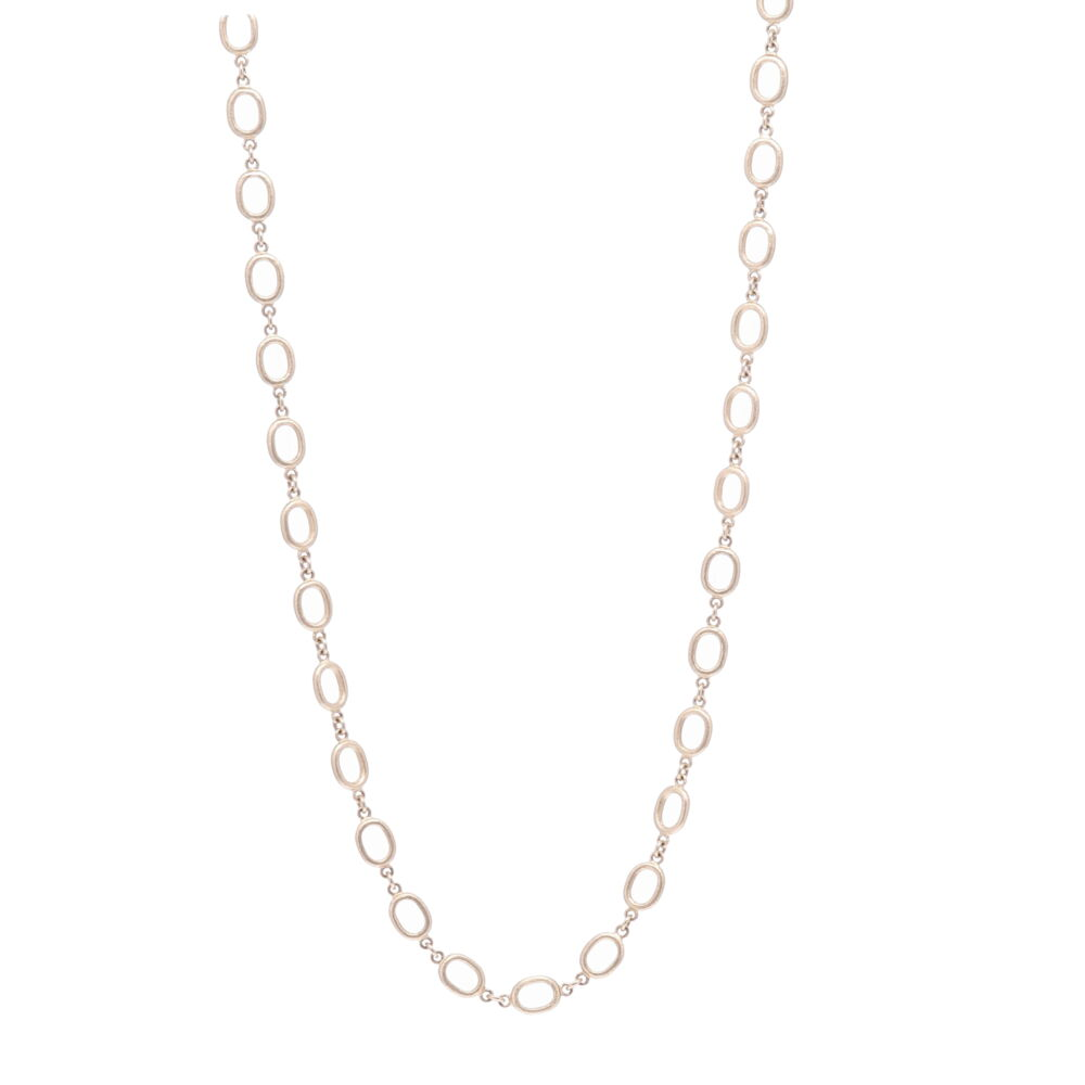"""Satin Finish Oval Link Yellow Gold Chain 28"""""""