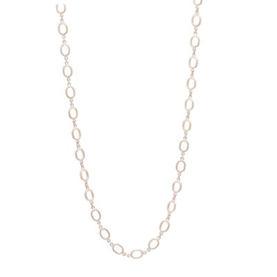 """Closeup photo of Satin Finish Oval Link Yellow Gold Chain 28"""""""
