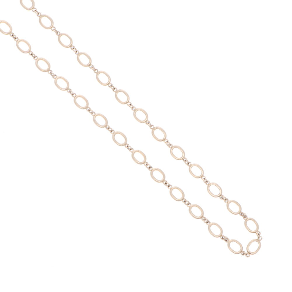 """Image 2 for Satin Finish Oval Link Yellow Gold Chain 28"""""""