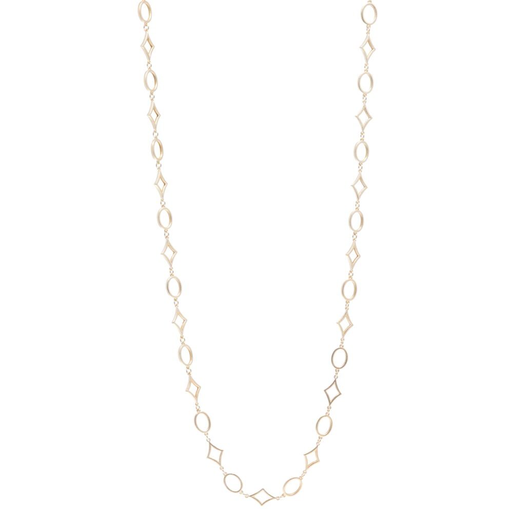 """32"""" Oval/DIA shaped Yellow Gold Necklace"""