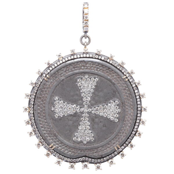 Closeup photo of Russian Maltese 1700's Coat of Arms Pendant