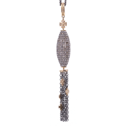 Closeup photo of Pave Large Oblong Tassel with cross