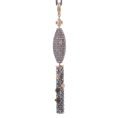 Pave Large Oblong Tassel with cross