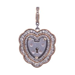 Closeup photo of Vintage English Heart Padlock Pendant