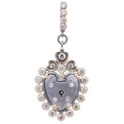 Closeup photo of Antique English Padlock Heart Pendant