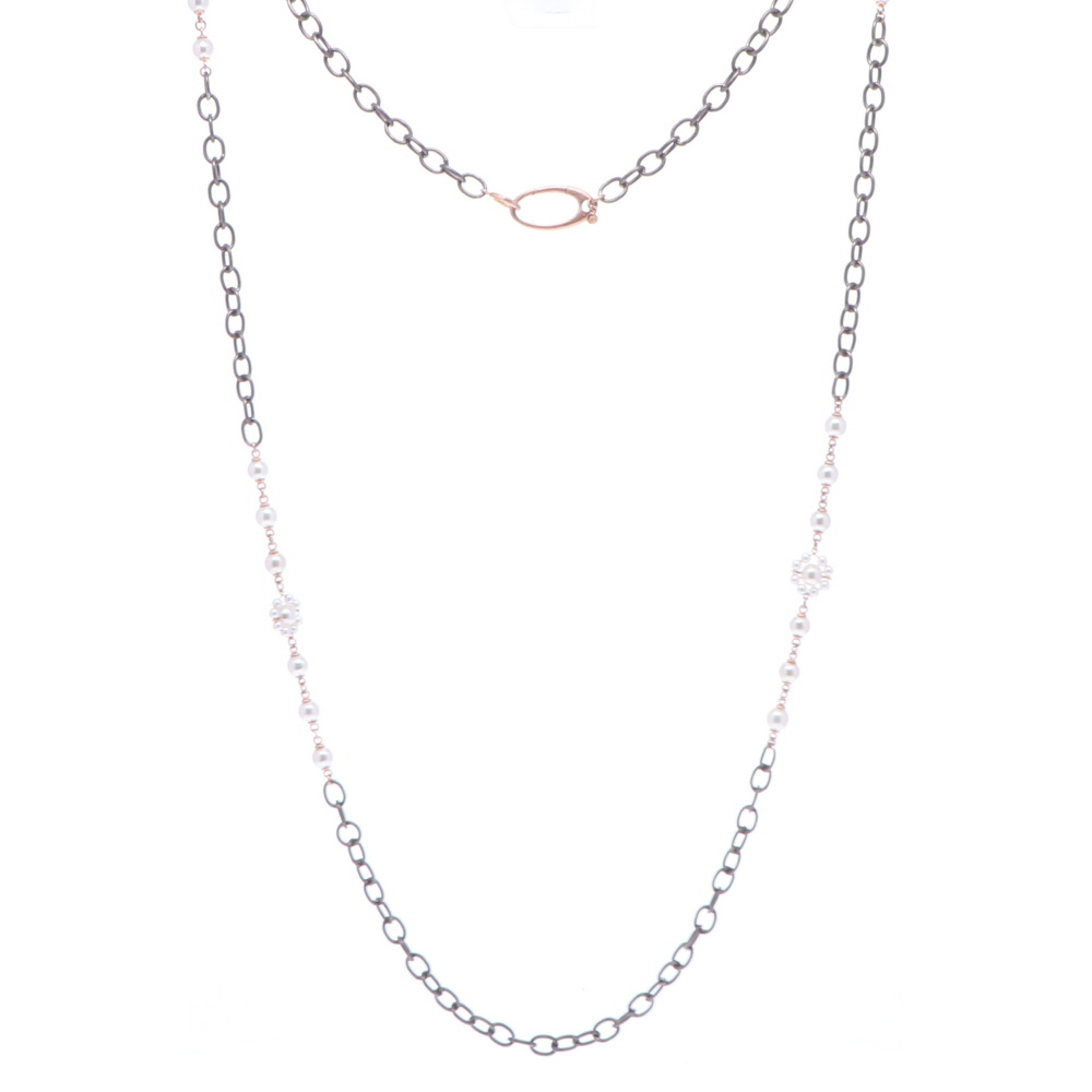 Limited Edition Rose Flower Pearl Necklace 37""