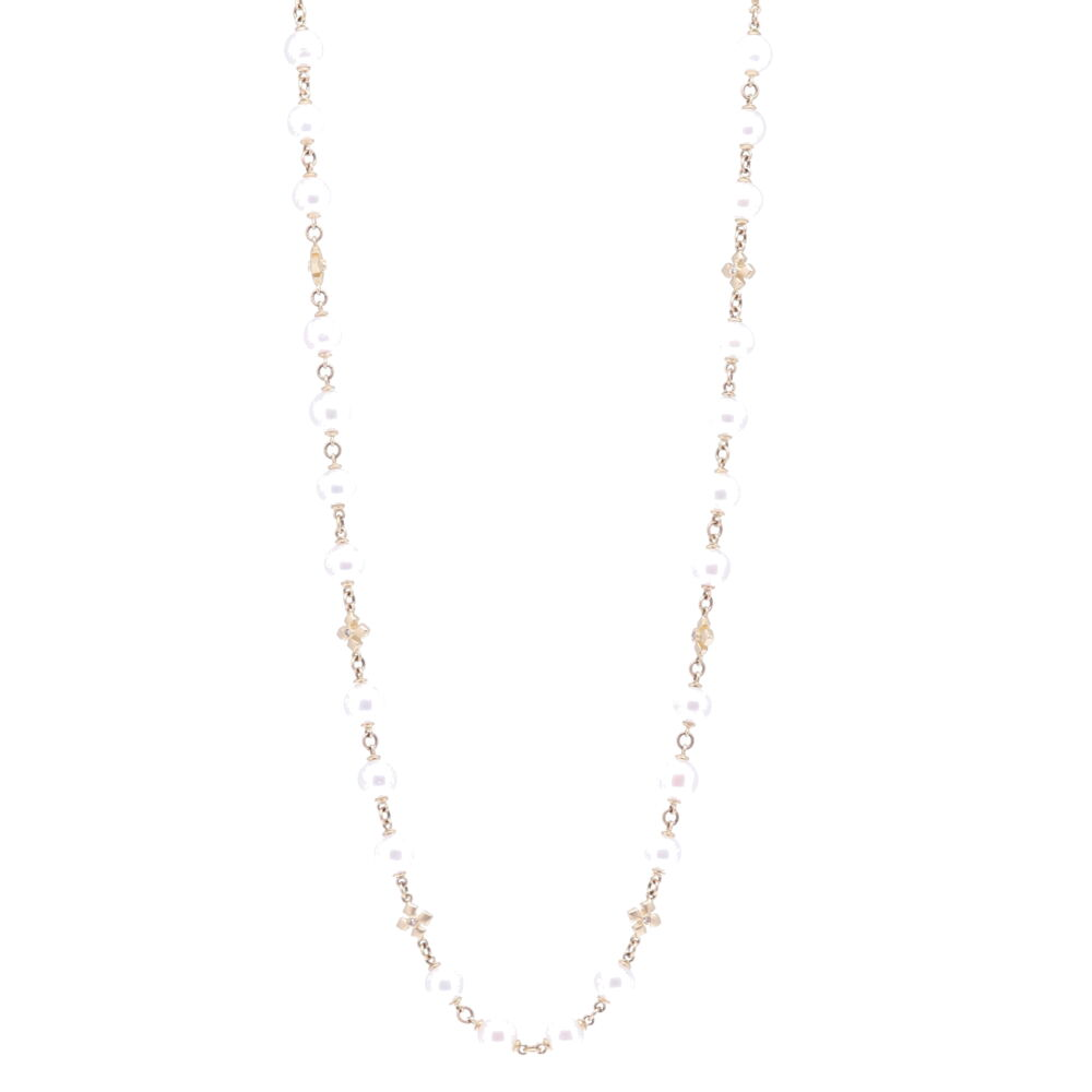 Limited Edition Akoya Pearl Necklace with Cross Stations 38""