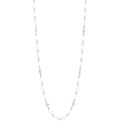 """Closeup photo of Limited Edition Akoya Pearl Necklace with Cross Stations 38"""""""