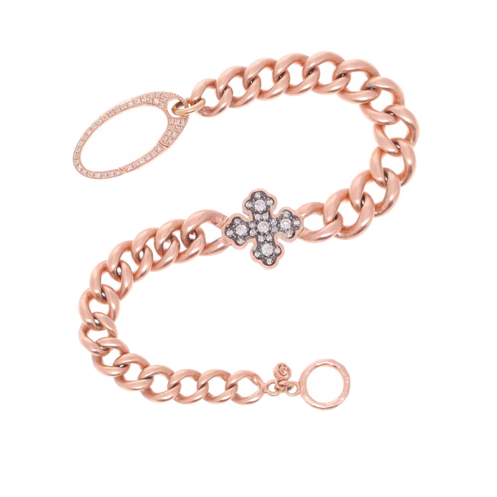 Vintage Rose Gold Chain with a Diamond Cross Bracelet