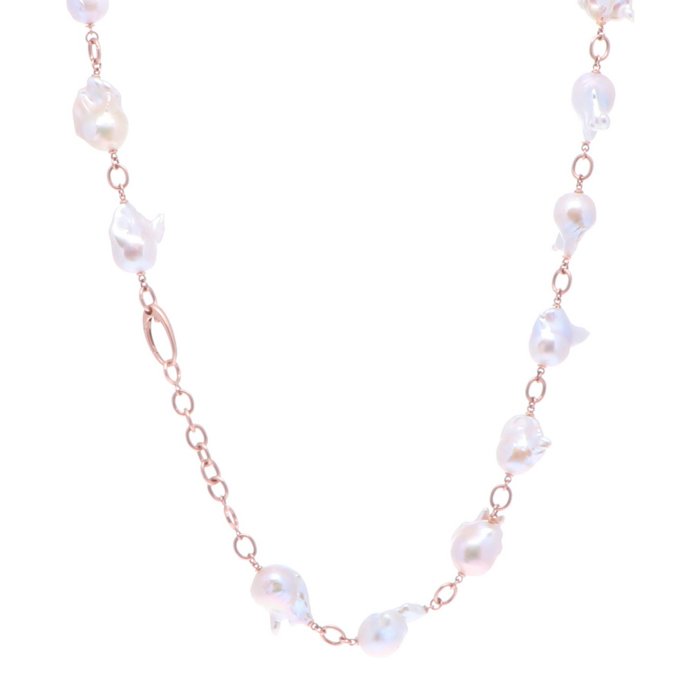 """Image 2 for Limited Edition Rose Baroque Freshwater Pearl Necklace 30"""""""