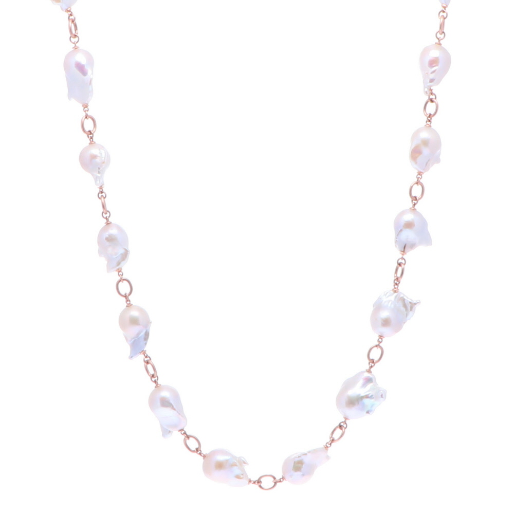 """Limited Edition Rose Baroque Freshwater Pearl Necklace 30"""""""