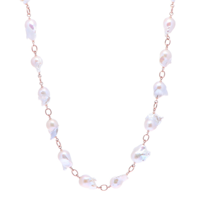 """Closeup photo of Limited Edition Rose Baroque Freshwater Pearl Necklace 30"""""""