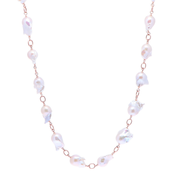 Closeup photo of Limited Edition Rose Baroque Freshwater Pearl Necklace 30""