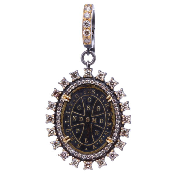 Closeup photo of Antique St. Benedict Diamond Pendant