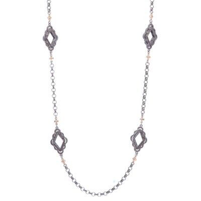 """Closeup photo of Scalloped Abstract Chain with Crosses 26"""""""