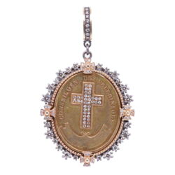 Closeup photo of French Notre Dame Pilgrimage Pendant