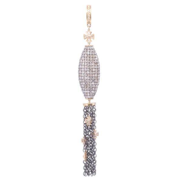 Closeup photo of Oblong Pave Diamond Tassel with Tiny Crosses