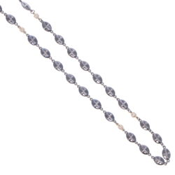 """Closeup photo of Polished Cross Shield Chain With Yellow Gold Diamond Stations 21"""""""