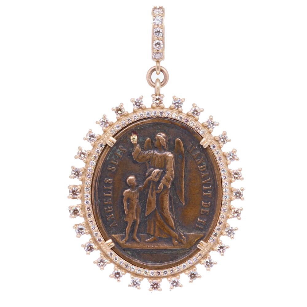 18c Latin Guardian Angel Pendant