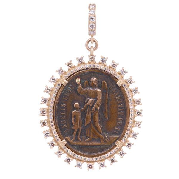 Closeup photo of 18c Latin Guardian Angel Pendant