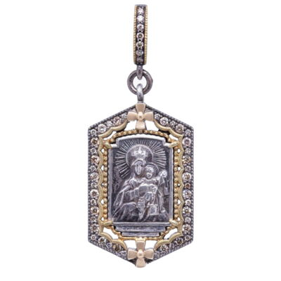 Closeup photo of Madonna and Child Pendant