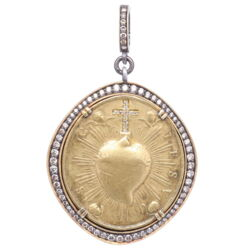 Closeup photo of Brass Sacred Heart with Cherubs Pendant