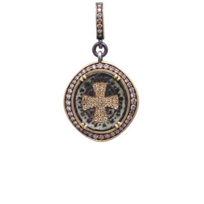 Closeup photo of Small Antique St. Benedict with Pave Diamond Cross