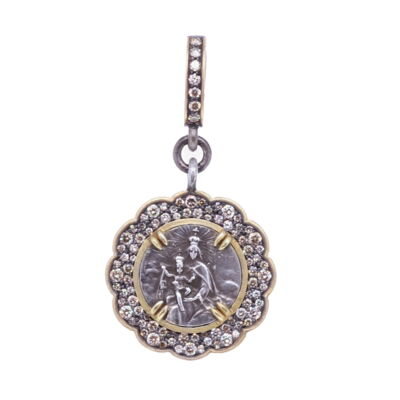Closeup photo of Tiny Mary and Child Medal Pendant