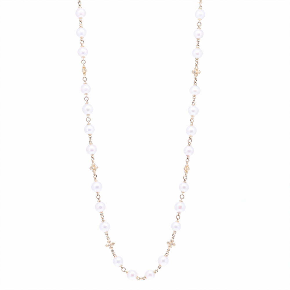 """Limited Edition Akoya Pearl Necklace With Cross Stations 36"""""""