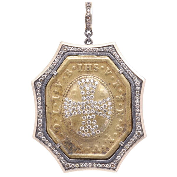 Closeup photo of St. Benedict Diamond Cross Pendant
