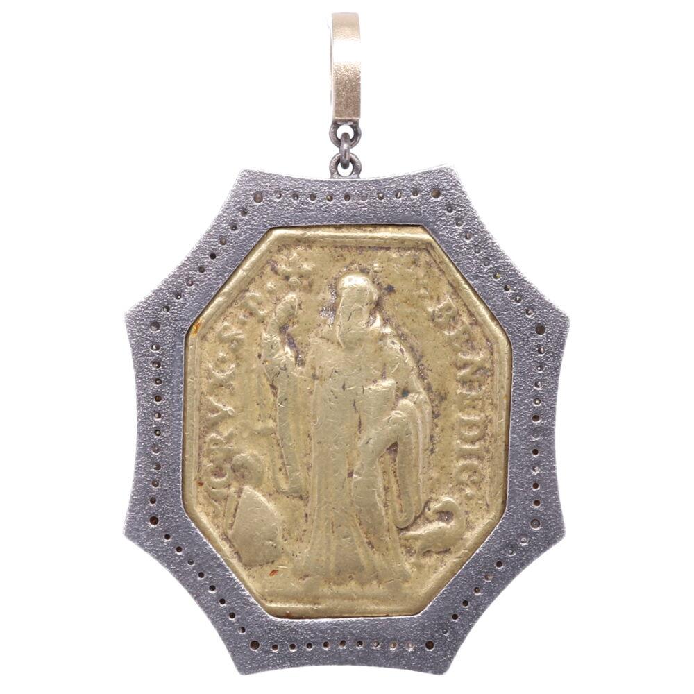 Image 2 for St. Benedict Diamond Cross Pendant