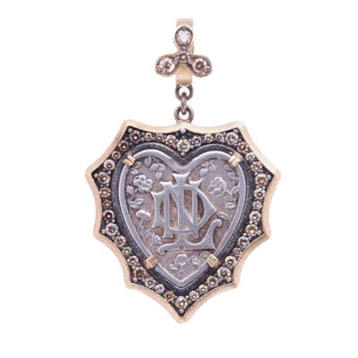 French Notre Dame Heart Pendant