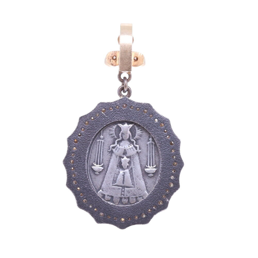 Image 3 for Spanish 19th C. Christ and Lady of Montserrat Pendant