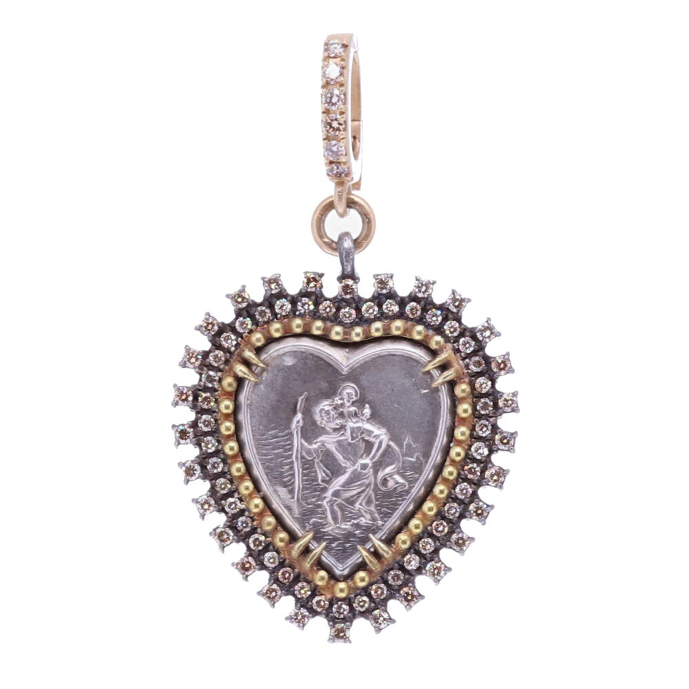 "St.Christopher ""The Gentle Giant In The River"" Heart Pendant"