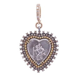 "Closeup photo of St.Christopher ""The Gentle Giant In The River"" Heart Pendant"