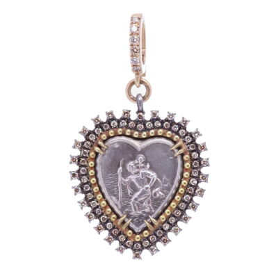 """St.Christopher """"The Gentle Giant In The River"""" Heart Pendant"""