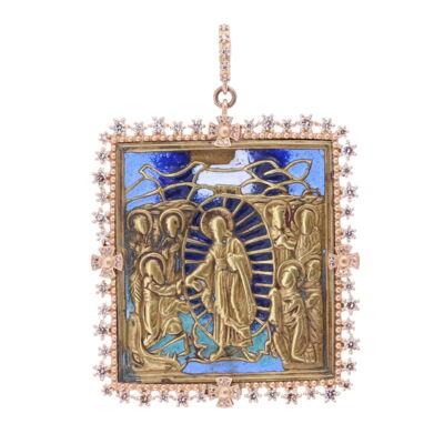 Closeup photo of 18th Century Russian Icon with Enamel Pendant