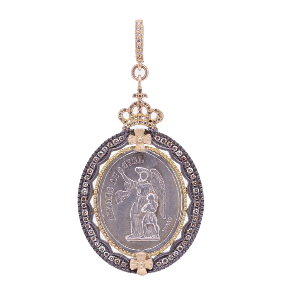 19c. French Guardian Angel with Crown Pendant
