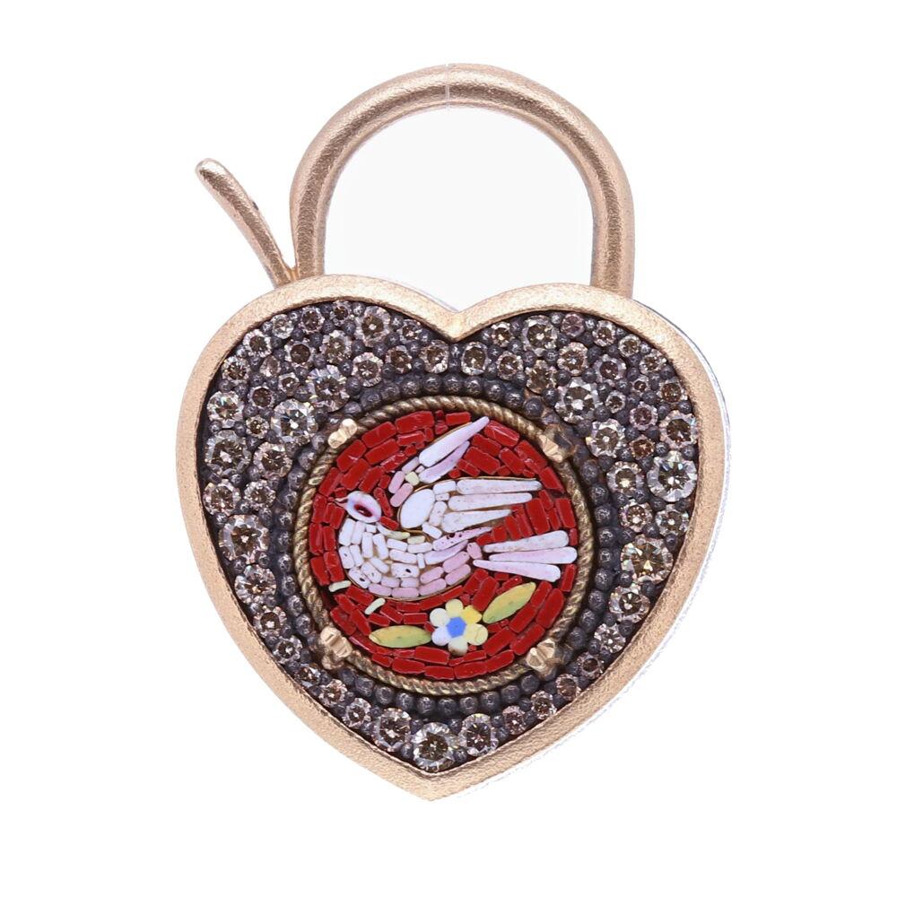 Red Italian Micro Mosaic Holy Spirit Dove Heart Locket Pendant/Charm